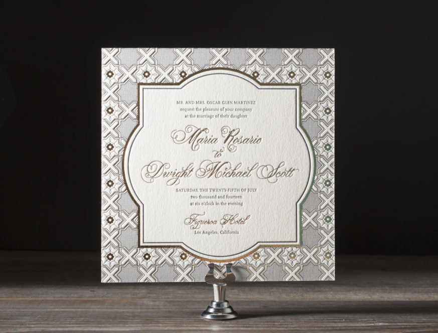 Amador Antique, Letterpress and Foil Invitation, Vintage Details, Square Invitation