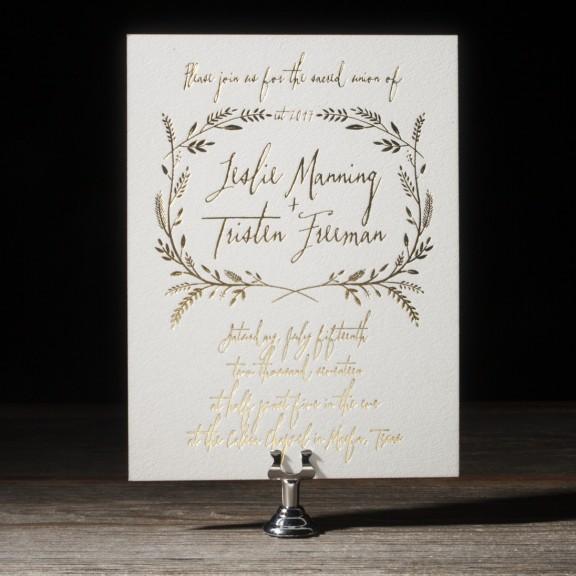 Harvest Foil Invitation, Whimsical Font and Rustic Details