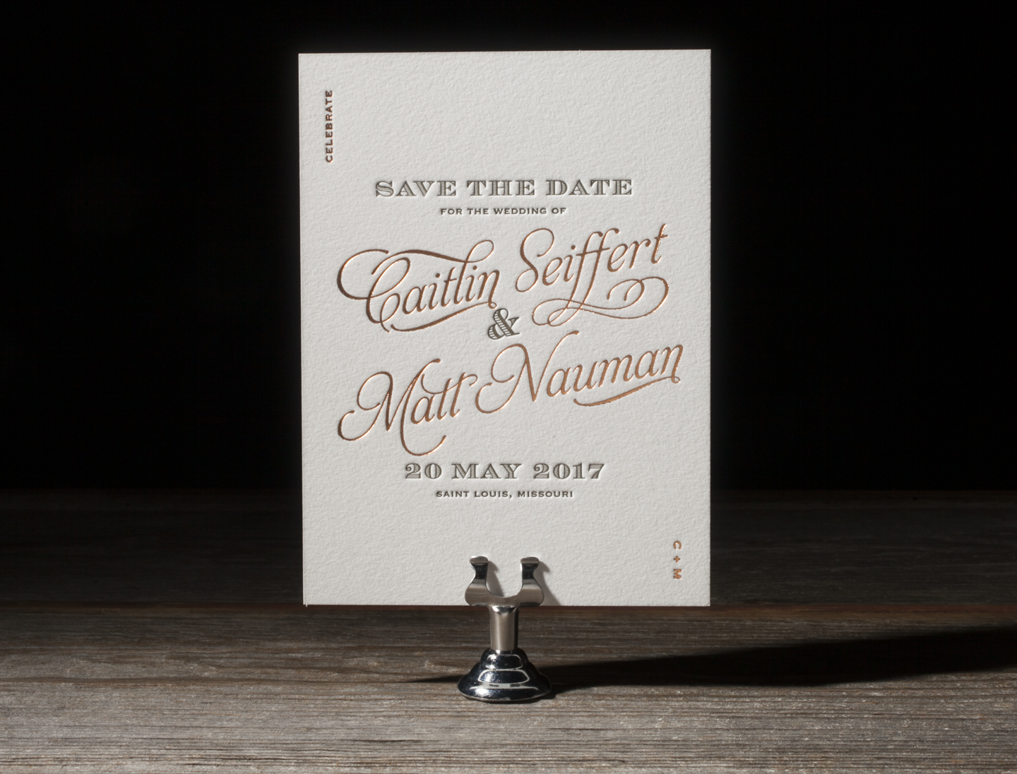 Serendipity Save the Date by Bella Figura, letterpress and foil
