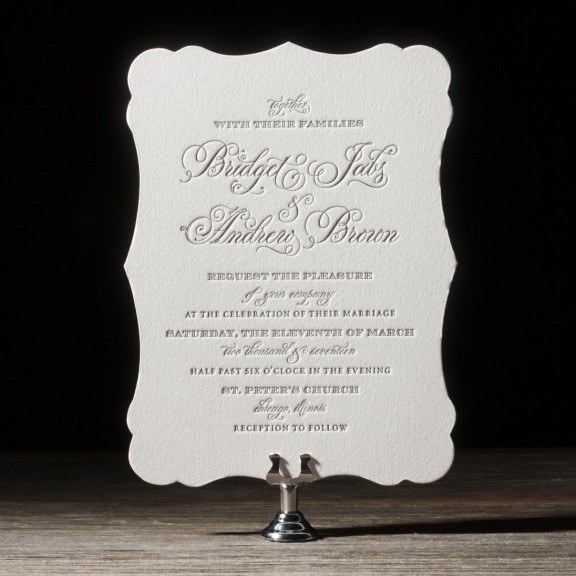 Vessa by Bella Figura, Letterpress wedding invitation, die-cut shape, formal