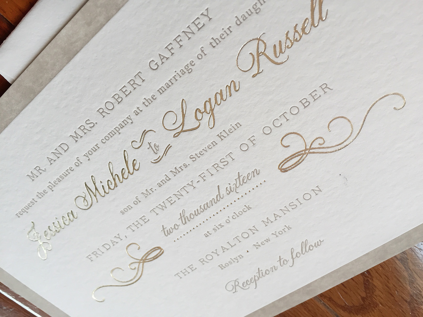 Jessica + Logan | Fall Wedding, Foil + Letterpress Invitation