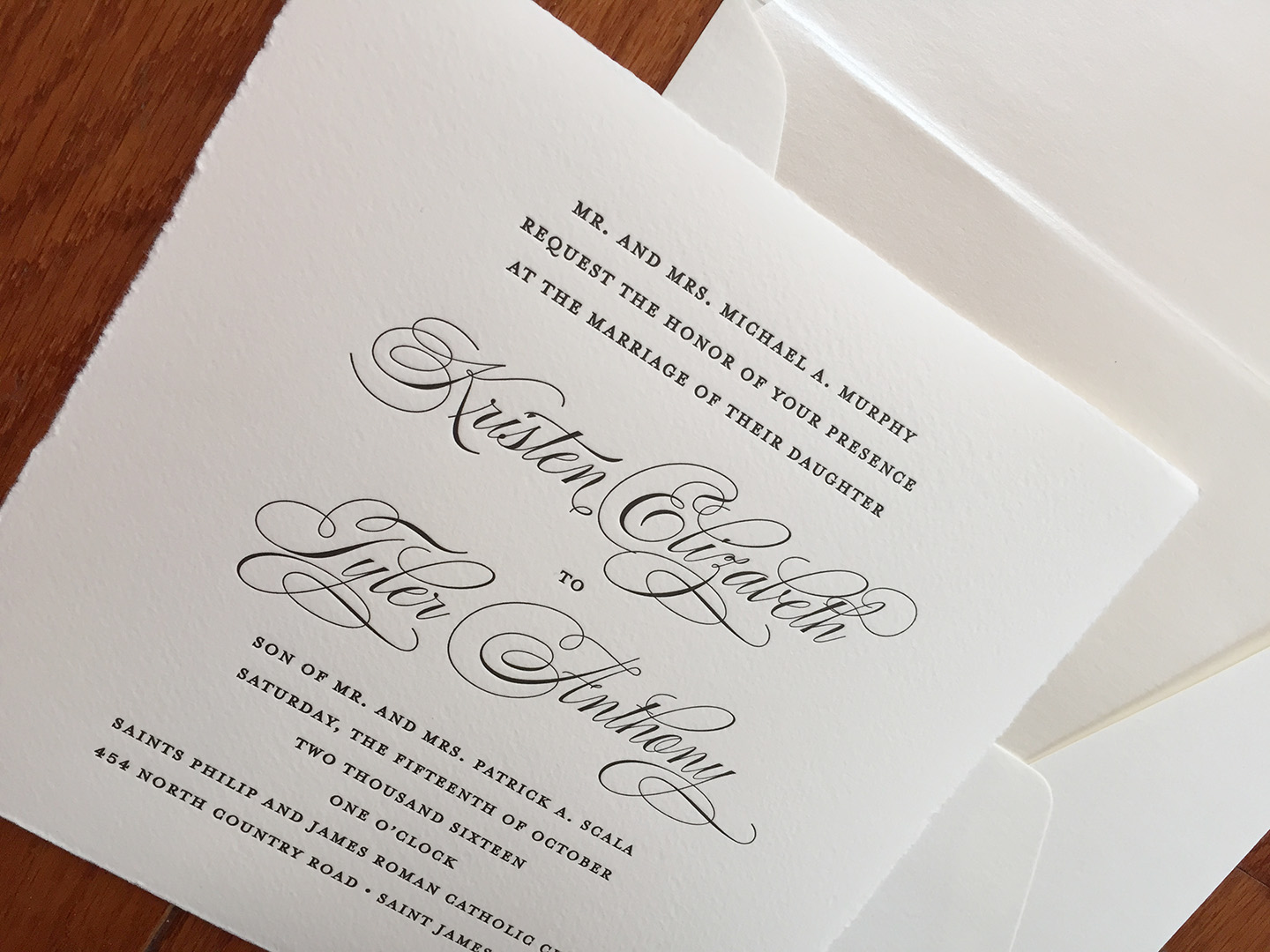 Kristen + Tyler | Letterpress Wedding Invitation with Torn Edge Detail