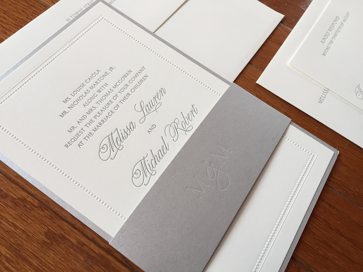 Melissa + Michael | Wedding Invitation, Letterpress with Metallic Bellyband