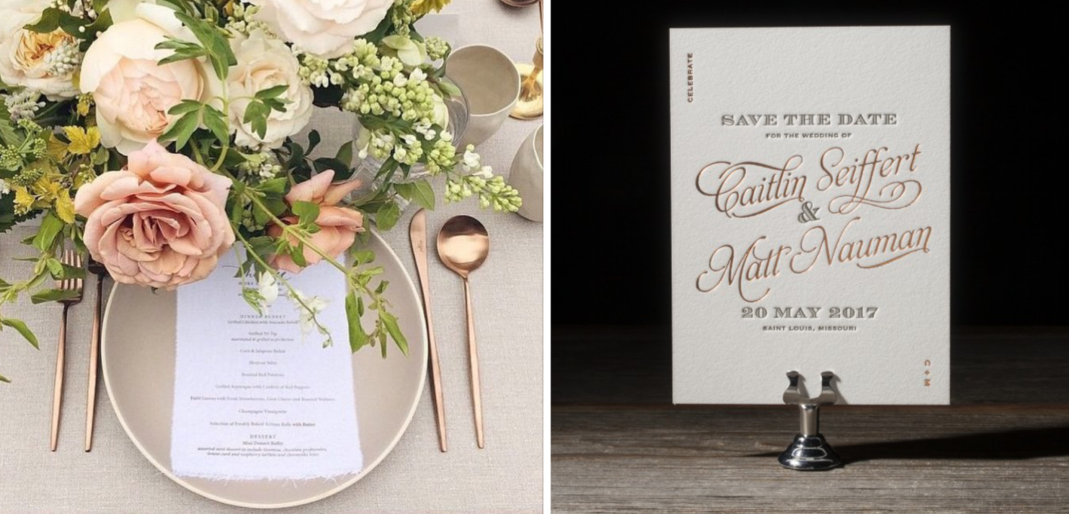 Copper Olive Save The Date And Place Setting Wedding Details