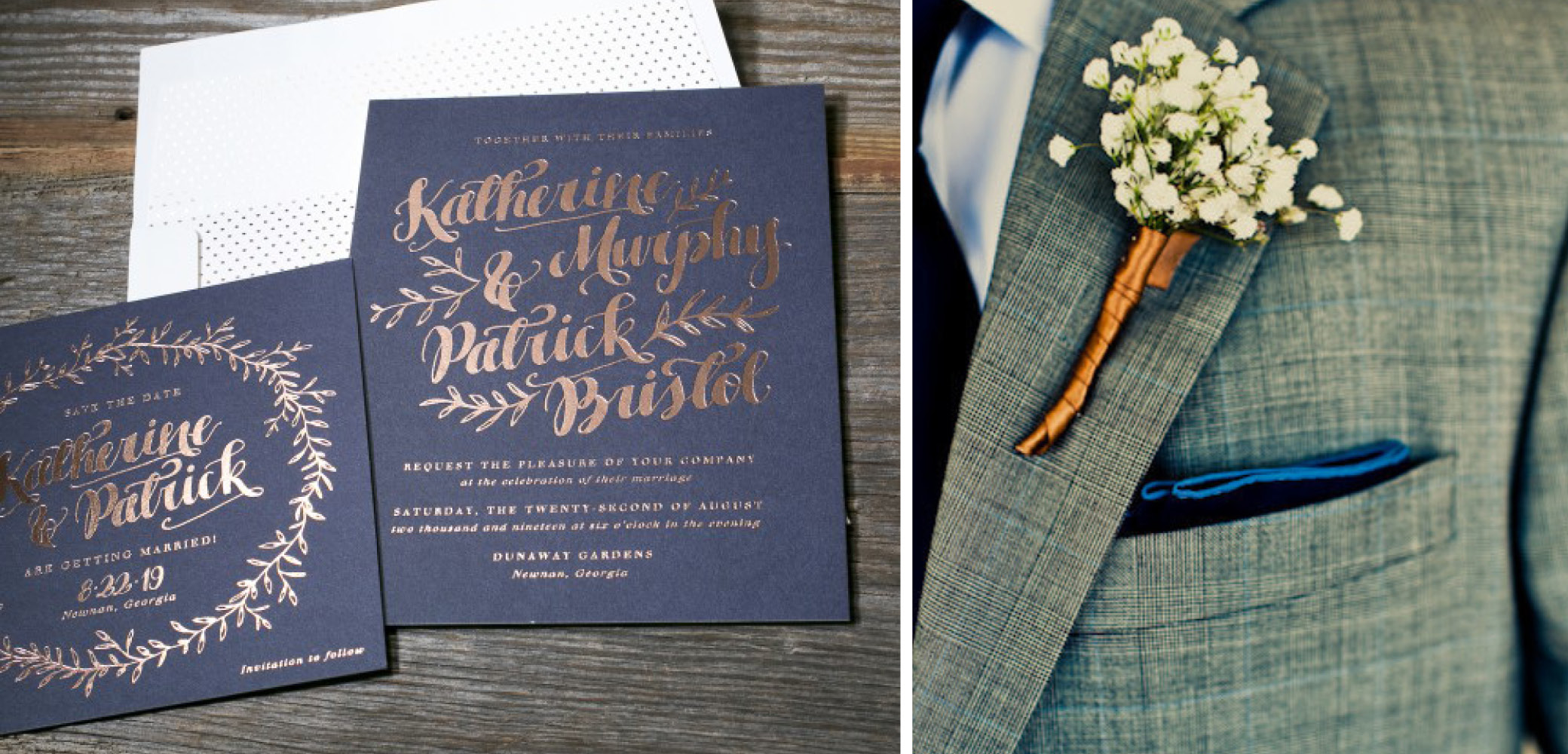 Copper + Navy | Invitation and Boutonniere Wedding Details
