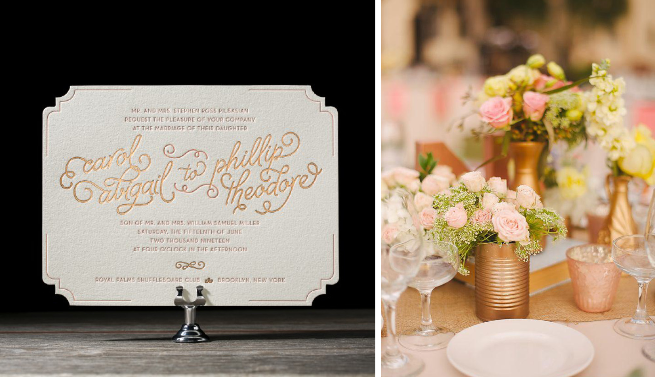 Copper + Pink | Floral and Invitation Wedding Details