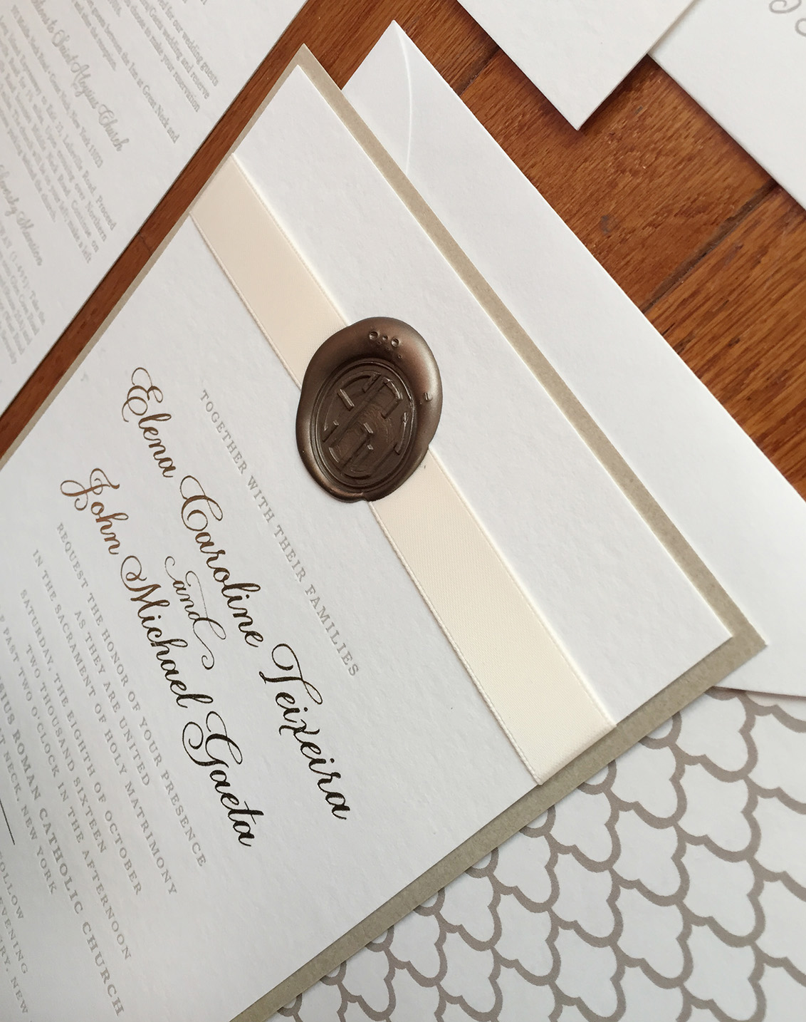 Elena + John | Wedding Invitation with Wax Seal and Ribbon Detail
