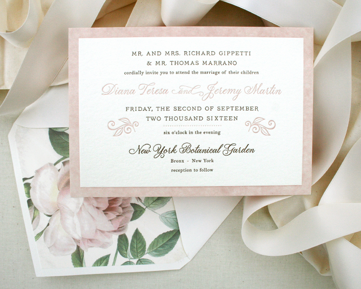 Letterpress wedding invitation with floral envelope liner