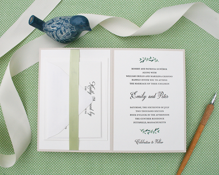 Emily+Pete, rustic letterpress invitation, greenery detail