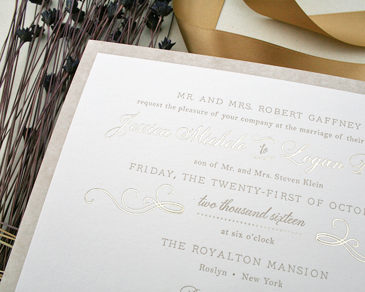 Foil and letterpress wedding invitation on bamboo paper