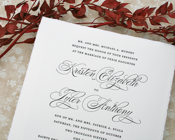 Wedding Invitation with hand-torn edge