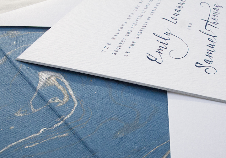 Acustica, Blue Engraved Invitation with Marble Liner
