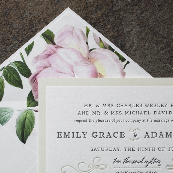 Ashbourne by Smock, Classic invitation with vintage rose envelope liner