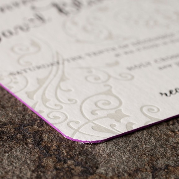 Avella by Smock, Letterpress Invitation, Edge Painting