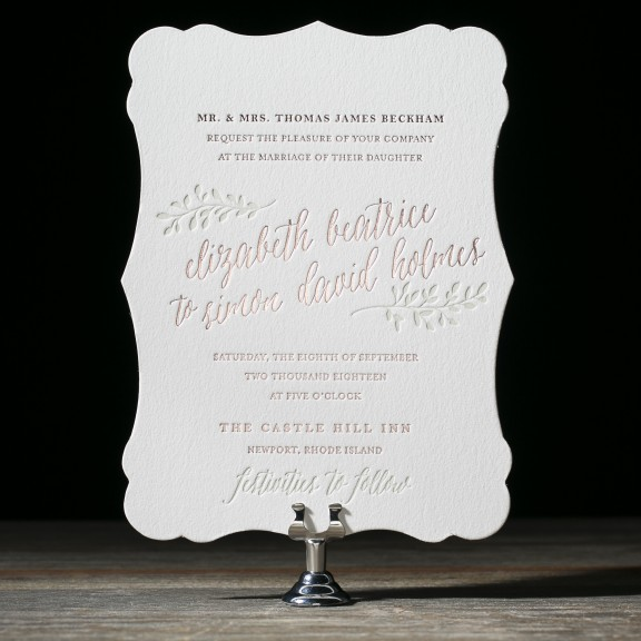 Belsay by Bella Figura, Diecut invitation with rustic floral details and pink foil