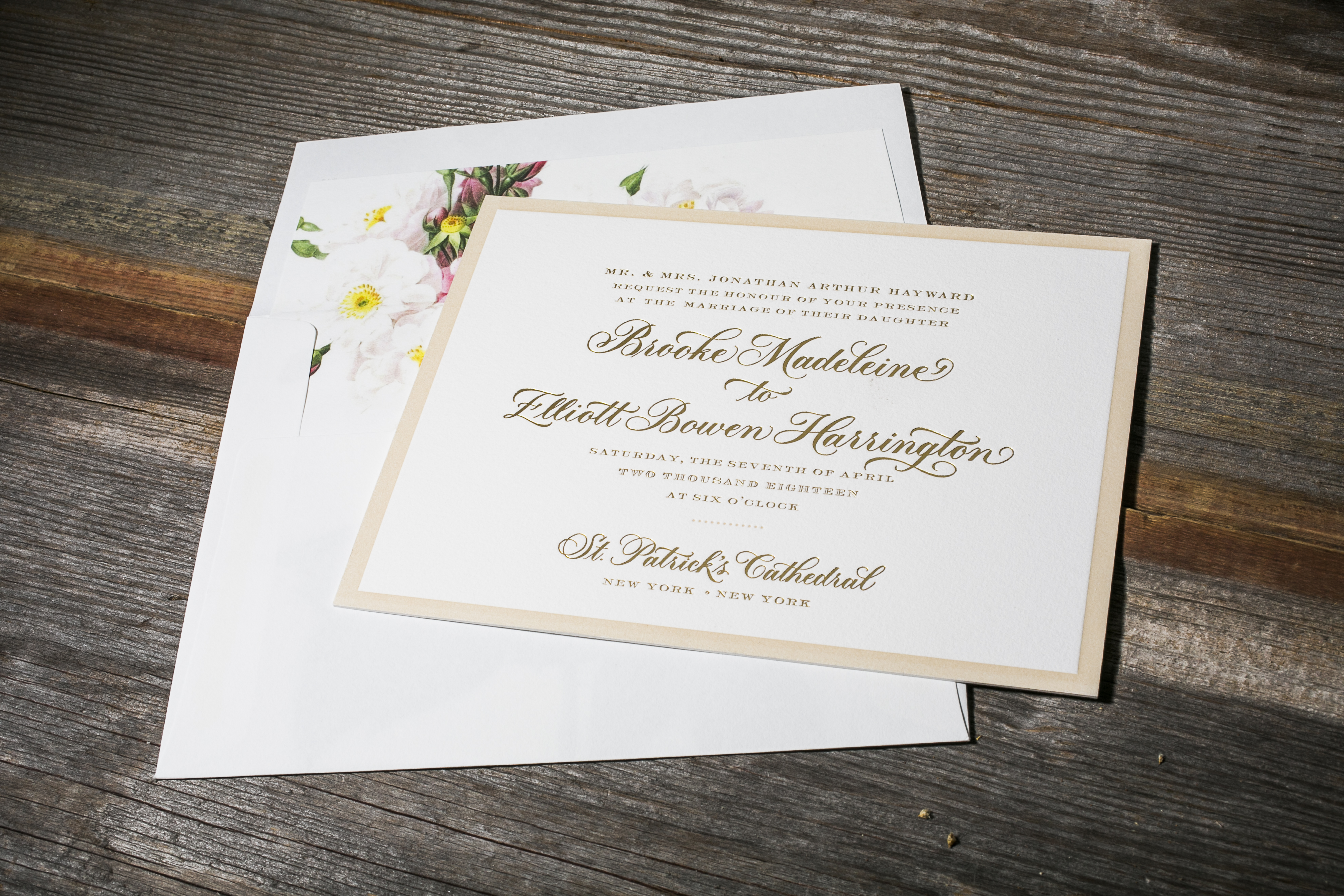 Chatsworth by Bella Figura, Traditional invitation with gold foil and a vintage floral liner