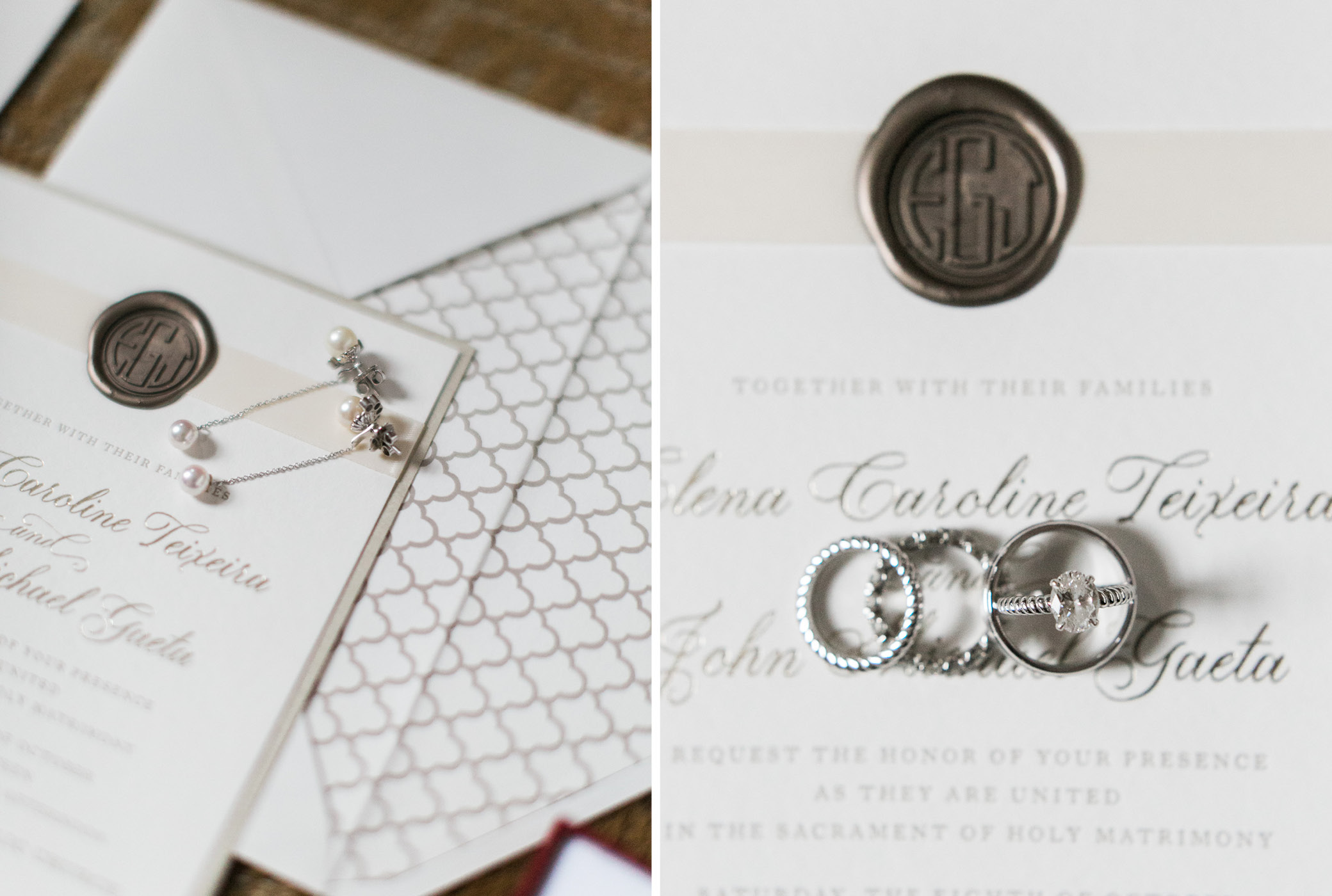 Elena + John, Wedding Invitation with Wax Seal