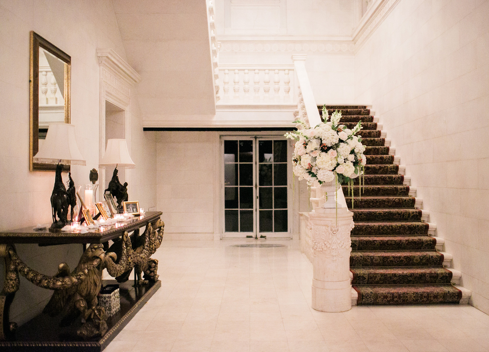 Wedding Venue Staircase with Floral Display