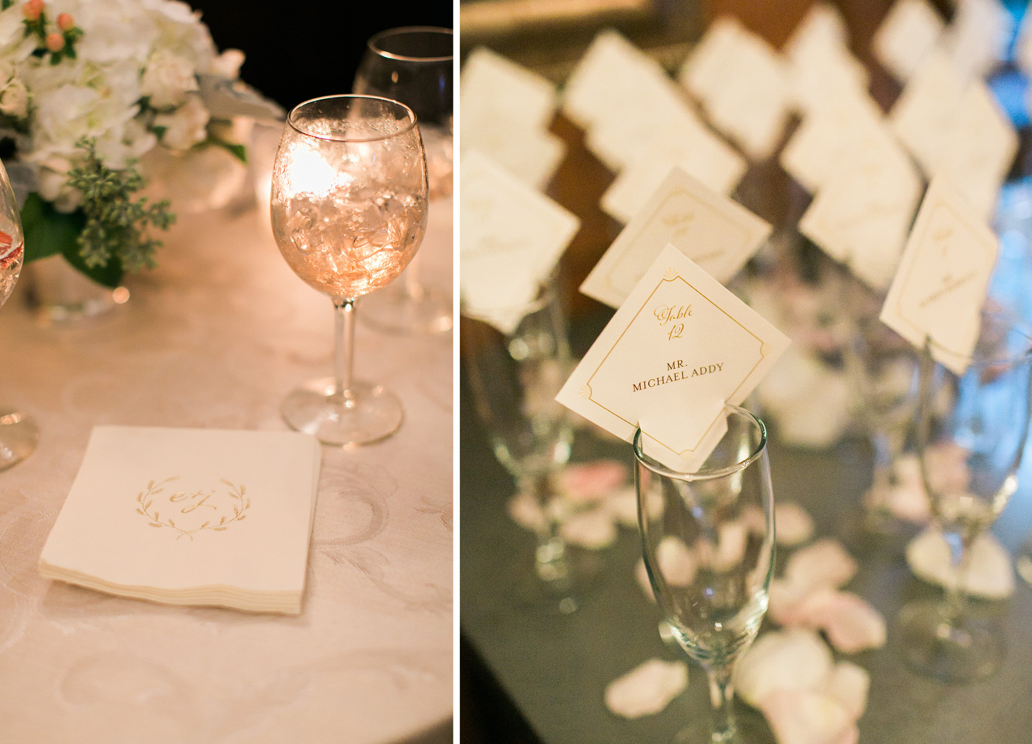Elena and John, Champagne Flute Escort Cards