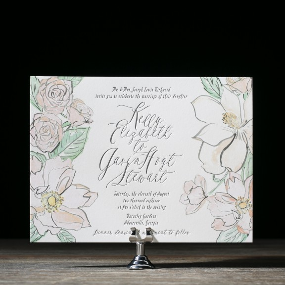 English Garden by Bella Figura, watercolor pastel florals and whimsical typesetting