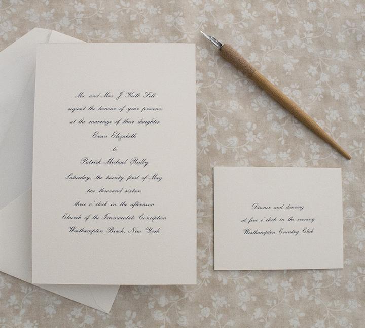 Evan + Patrick, Classic Navy and Ivory Wedding Invitation