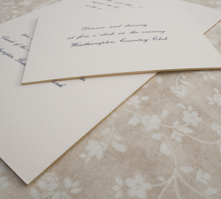 Evan + Patrick, Classic Navy and Ivory Wedding Invitation