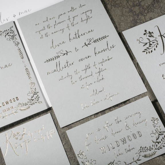 Greedy by Smock, Pewter and Gray tone on tone rustic invitation suite