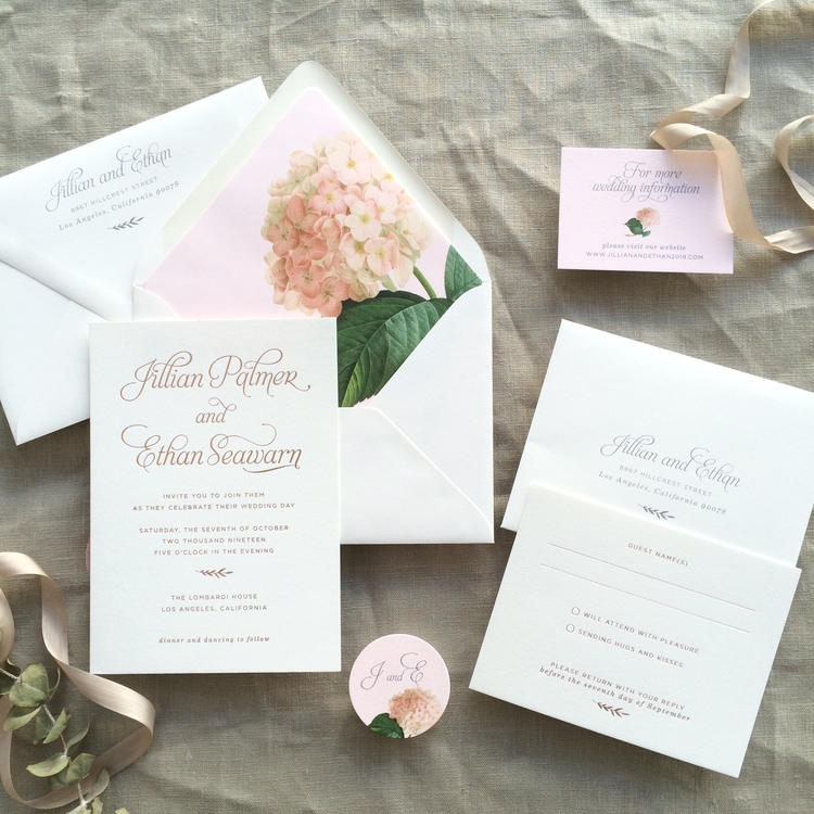 Jillian by BTElements, pink hydrangea invitation with rose gold foil