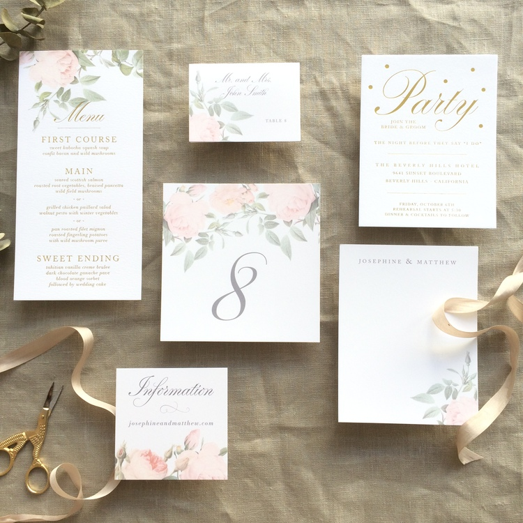 Josephine by BTElements, Table Number, Menu, Escort Card and other wedding details accented with pink roses