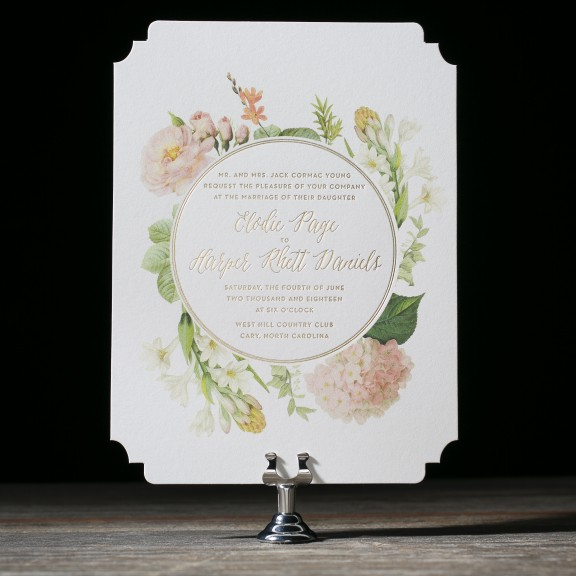 Josephine by BellaFigura, gold foil invitation with vintage florals and diecut corners