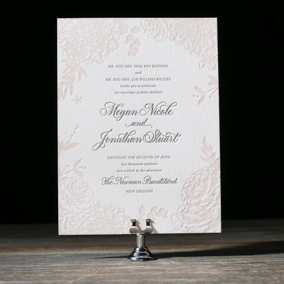 Lush Garden by Bella Figura, Wedding Invitation with Floral Border, Letterpress