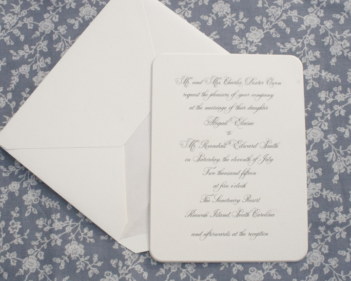 Parfumerie + Opal Bevel, Engraved Wedding Invitation