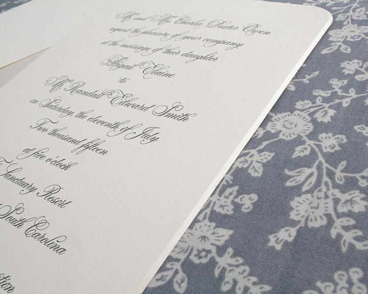 Parfumerie + Opal Bevel, Engraved Wedding Invitation
