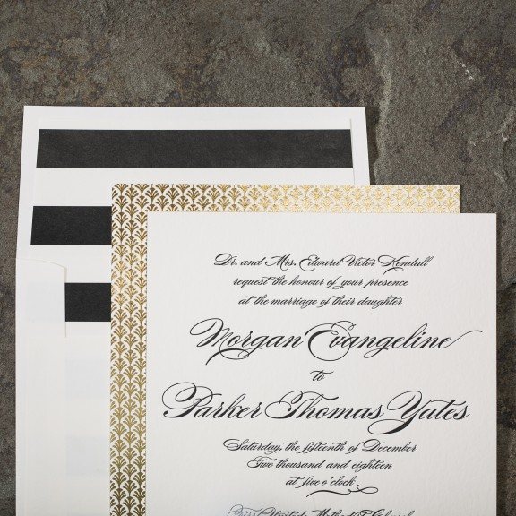 Sutherlin by Smock, Classic invitation with foil deco details
