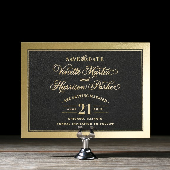 Viviette by Bella Figura, striking black and gold invitation with hand calligraphy