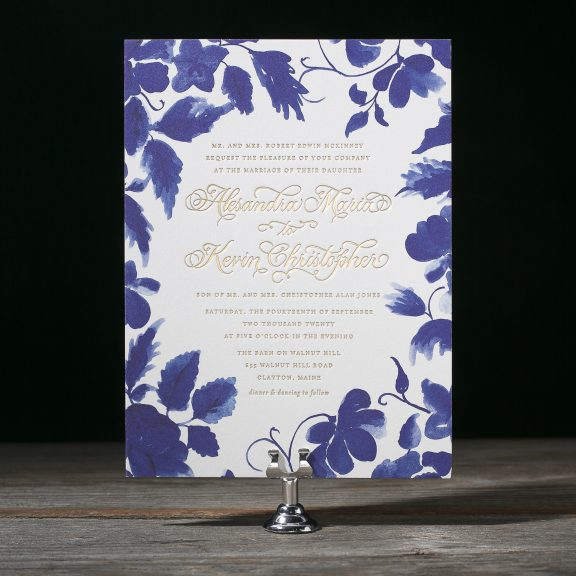 Cora by Bella Figura, blue floral invitation with gold foil
