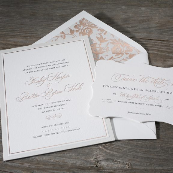 townsend by bella figura, classic invitation with rose gold and gray envelope liner