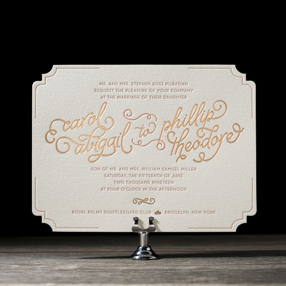 Abigail by Bella Figura, foil and letterpress typography invitation