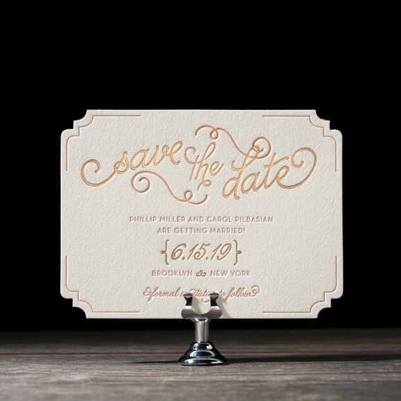 Abigail by Bella Figura, foil and letterpress whimsical typography save the date, diecut shape, peach and copper color palette, hand drawn style font and details