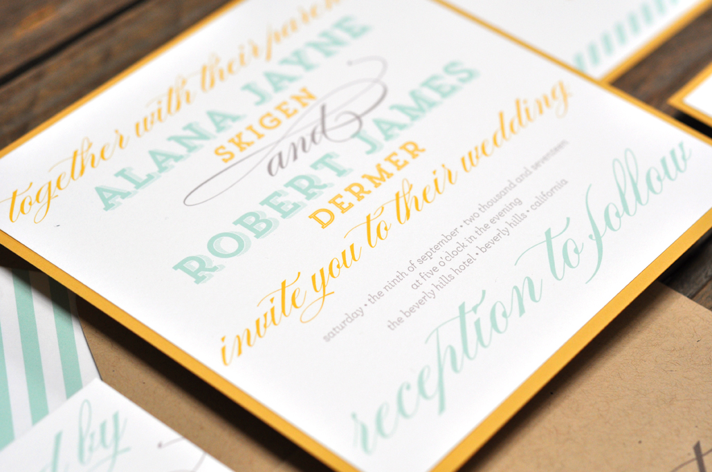 Alana by BTElements, Whimsical wedding invitation with striped envelope liner and kraft envelopes, Aqua yellow and gray color palette, mixed fonts