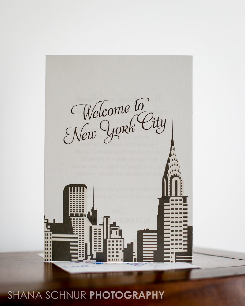 Alexandra + Craig, Chrysler Building Welcome Booklet, NYC, New York Skyline Design in Shades of Gray