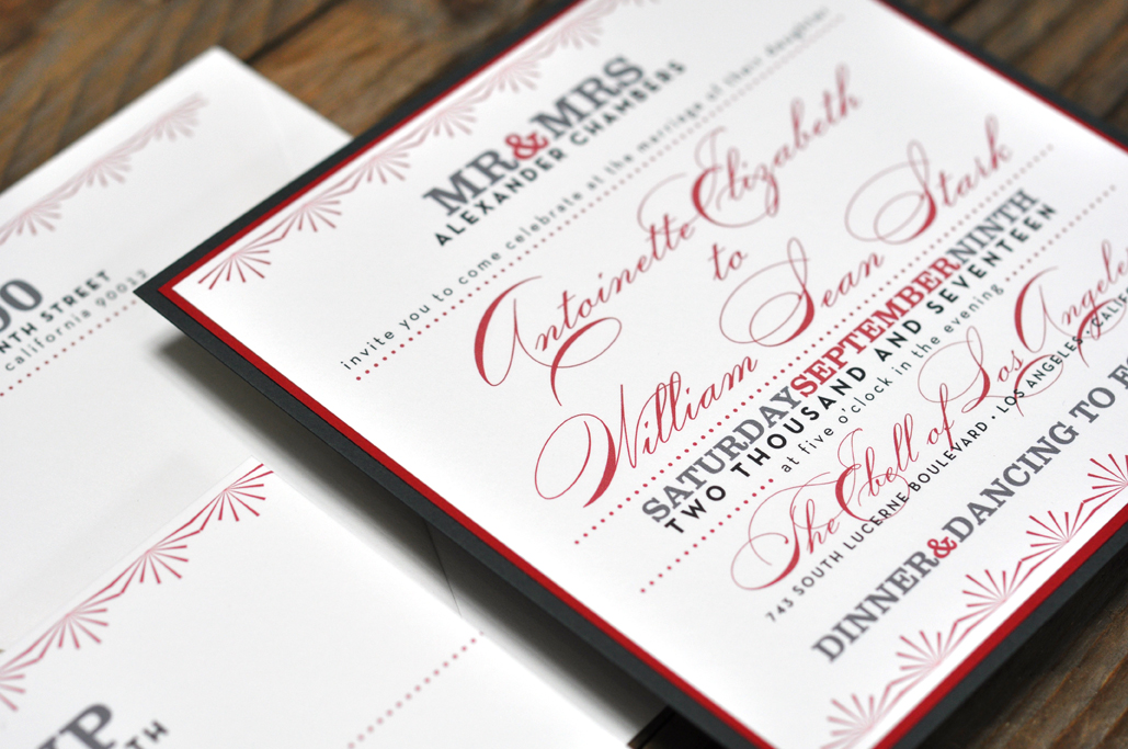 Antoinette by BTElements, Red and black art deco invitation, deco style border with multiple fonts