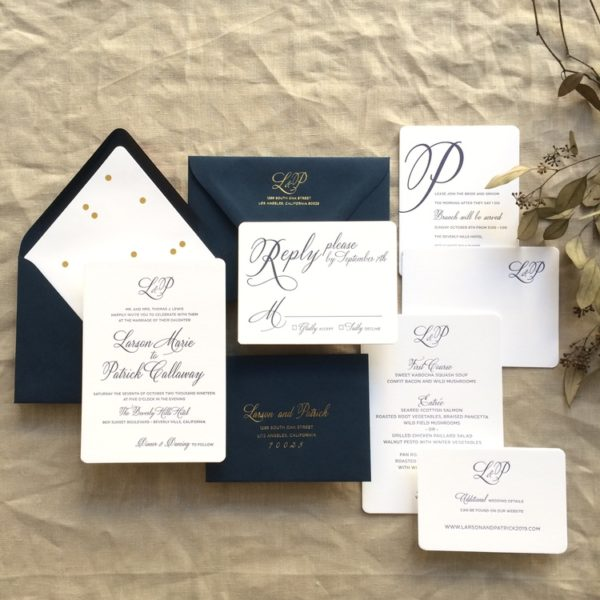 BTElements Larson, Navy and Gold invitation