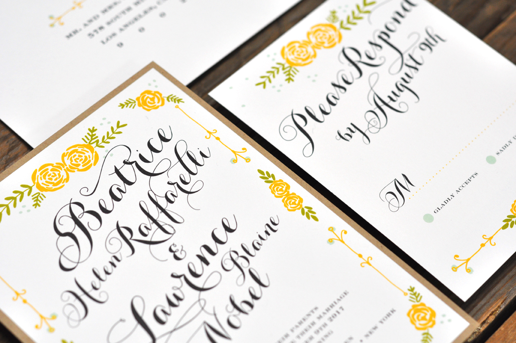 Beatrice by B.T.Elements, Whimsical wedding invitation with yellow roses in illustrated border, calligraphy style script, layered white and kraft layered papers
