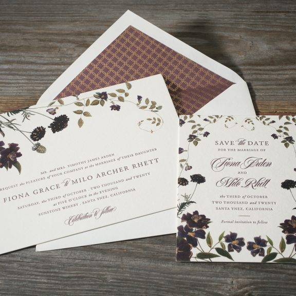 Bella Figura, Arden, Floral Invitation with gold patterned envelope liner