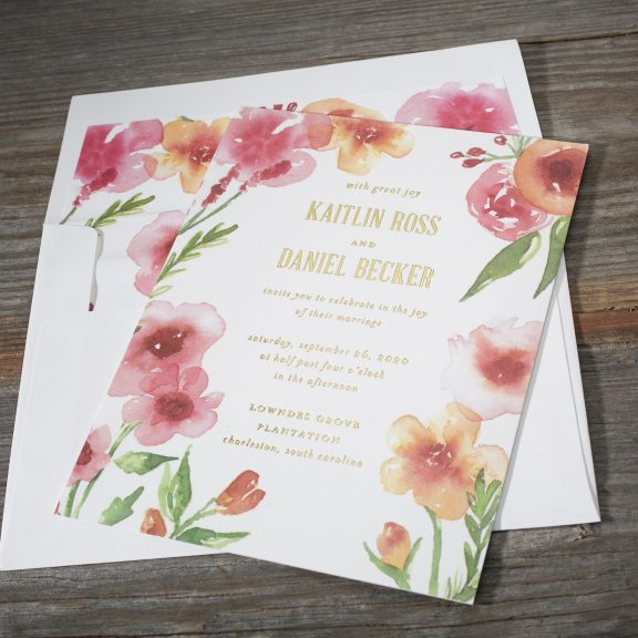 Bella Figura Chilmark, Vibrant watercolor floral invitation