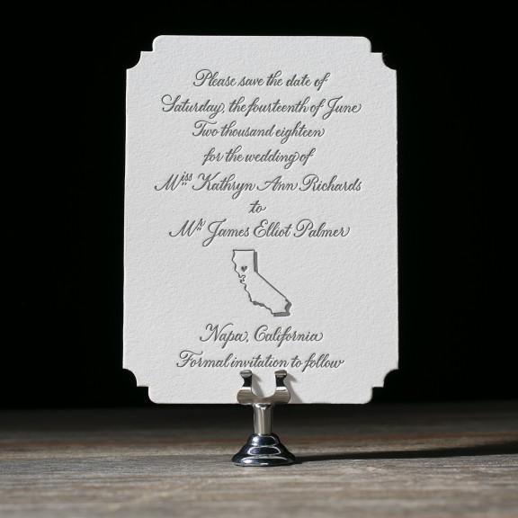 Bella Figura, Napa, Save-the-Date, Charcoal letterpress with California silhouette, classic font, diecut