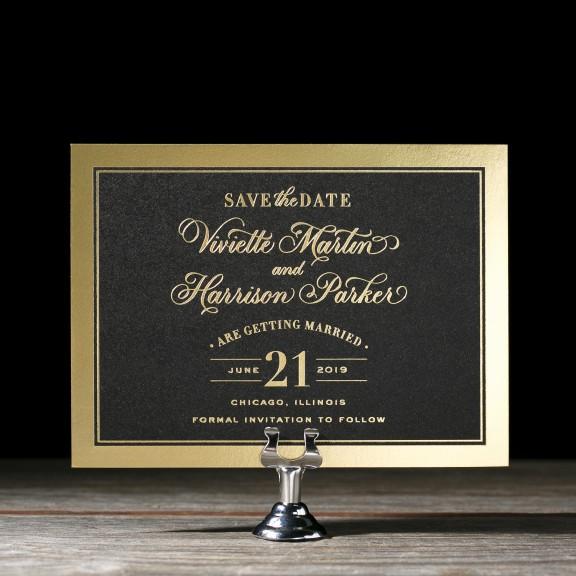Bella Figura, Viviette, Save the Date, classic black and gold card with border