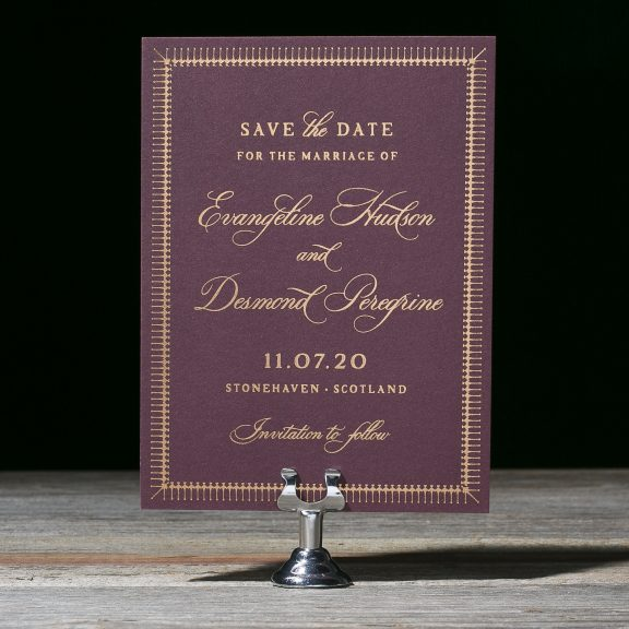 Bella Figura, myrtle wood, save the date, plum card with copper foil, classic style