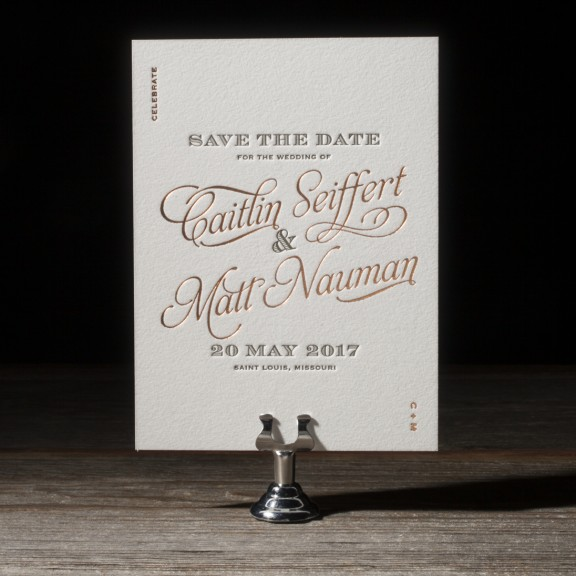 Bella Figura, serendipity, save the date, copper and olive letterpress and foil, interesting typesetting